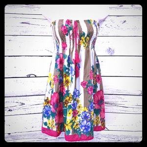 Flying Tomato Strapless Floral Hawaiian Mini Dress